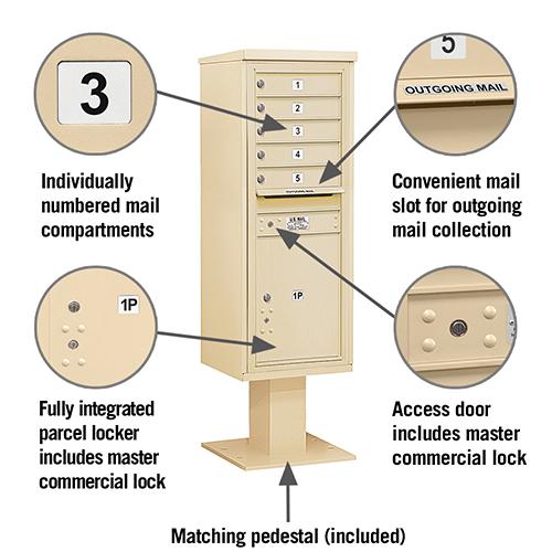 5 Tenant 1 Parcel Locker Pedestal Mailbox
