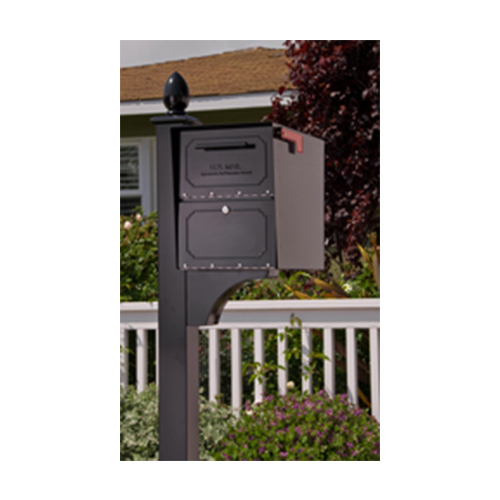 Decorative Post With Side Mount Locking Mailboxes